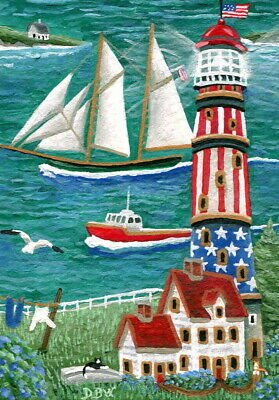 ACEO original small art painting lighthouse animals cats tall ship primitive