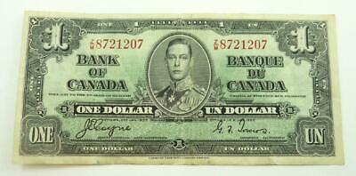 1937 Canada $1.00 / One Dollar Banknote - King George VI - G to VG Condition