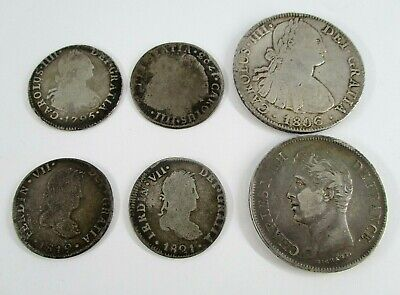 Lot of 6 Foreign Coins Dates Range 1795-1828 No Reserve Average Circulated
