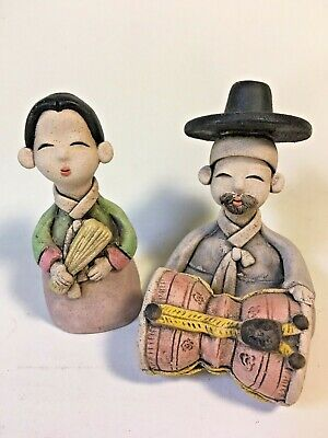 "Pair of Clay Art Figurines Musicians Drum Woman Man Peru ? Asian ? 3"" tall"