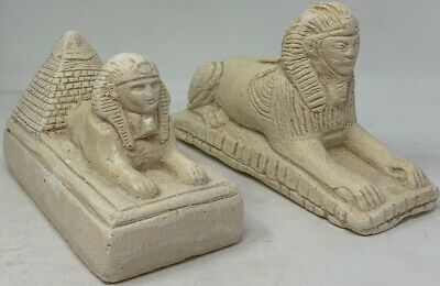 Hand Made Egyptian Statues Set Of 2 - King Tut / Pyramid / Sphinx Decor