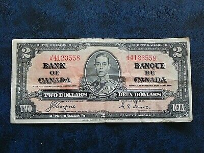 1937 Circulated Canada $2 Two Dollar King George VI JR Coyne Towers BC-22c