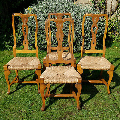 French Cherrywood Country High Back Rush Seat Set of 4 Dining Chairs