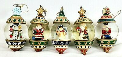 "Christmas Snowdome Decorations Set Of 5 Hand Painted 4 1/2"" Long x 2 1/2"" Wide"
