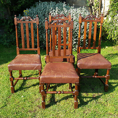 Carolean Style Oak & Leather High Back Set of 4 Dining Chairs C1910 - Edwardian