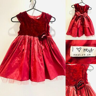 Baby Girls Toddler Beautiful Party Christening Dress Age 1.5-2Yrs Burgundy 18-24