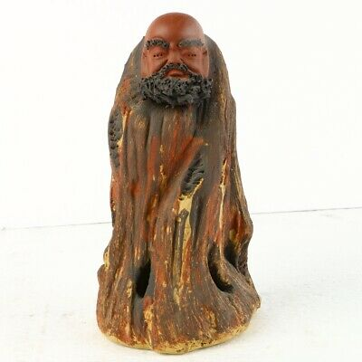 Chinese Yixing ZiSha Sculpture Hand Carved Bodhidharma Statue MC06