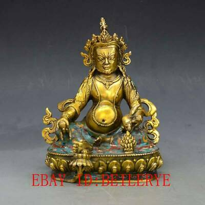 Tibet Tibetan Buddhism Brass Handwork cloisonne God of Wealth Statue L14