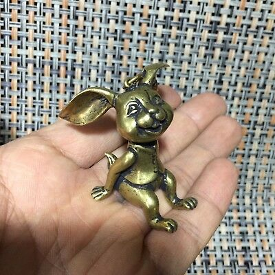 Rare Old Collectible Chinese Brass Handwork Big Ears Bugs Bunny Antique Statue