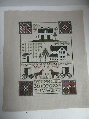 Finished Cross Stitch Amish Alphabet Sampler Completed Horse Buggy 1989 Quilt