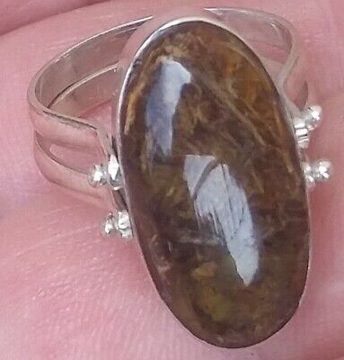 TWO SIDE LARIMAR AMBER stones 925 sterling silver RING size 7 a-16