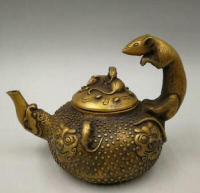 Chinese Old Handwork pure brass twelve zodiac mouse teapot YR