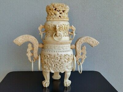 Vintage Chinese Asian Carved Resin Lidded Tripod Urn Censer Vase Dragons Lions