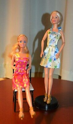 Lot Of 2 Blonde Barbie Dolls - Blue Eyes - New Party Dresses & Shoes - For Play!