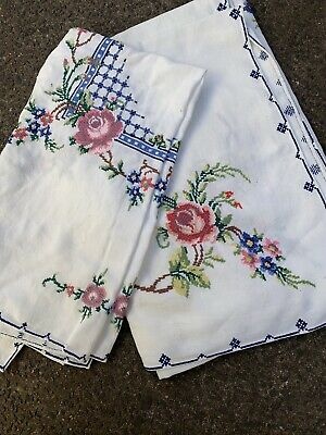 Vintage Hand Embroidered Tablecloth ~ Flowers ~ Linen ~ Square