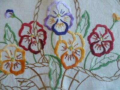 Vintage Hand Embroidered Duchess Set  Pansies In Basket  Cream Crocheted Edge