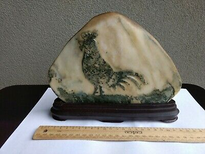 Chinese Stone Rock Carved Rooster Ornament Jade on Wooden Stand