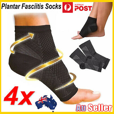 4x Foot Sleeve Plantar Facilities Compression Sock Sore Achy Swelling Heel Ankle