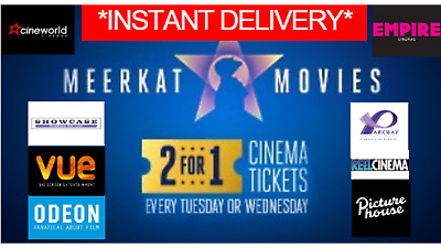 2 for 1 MEERKAT MOVIES CINEMA CODE *Instant Delivery* Valid 20 or 21 of August