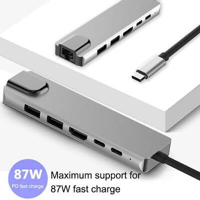 6 in 1 USB C Hub USB Type C 3.0 Adapter Dock with 4K HDMI PD Charger PC Laptop