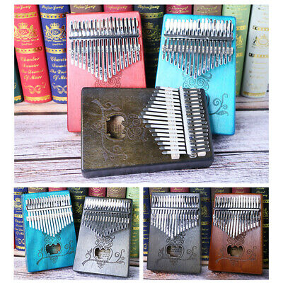 17 Keys Kalimba Single Board Mahogany Thumb Piano Mbira Keyboard Instrument Blue