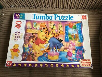 Winnie The Pooh 40 Piece Wooden Jumbo Jigsaw Puzzle Tigger/Piglet/Eeyore/Roo