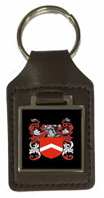 Pembry Heraldry Surname Coat Of Arms Brown Leather Keyring Engraved