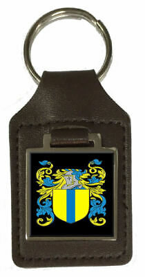 Weatherley Family Crest Surname Coat Of Arms Brown Leather Keyring Engraved