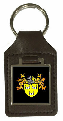 Hodges Family Crest Surname Coat Of Arms Brown Leather Keyring Engraved