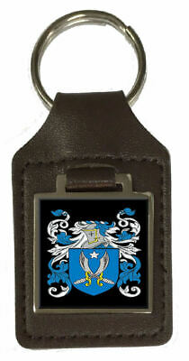 Myers Family Crest Surname Coat Of Arms Brown Leather Keyring Engraved