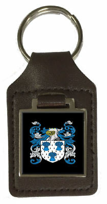 Duffin Family Crest Surname Coat Of Arms Brown Leather Keyring Engraved
