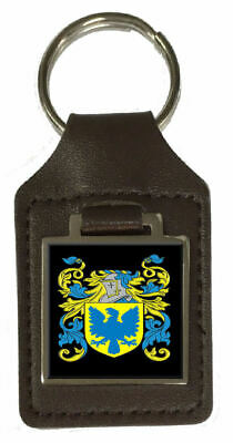 Hodinott Family Crest Surname Coat Of Arms Brown Leather Keyring Engraved