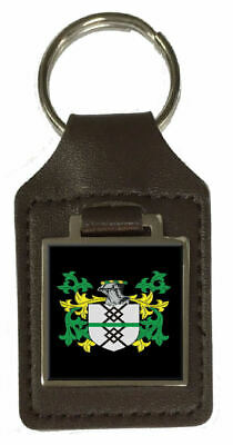 Scoffield Family Crest Surname Coat Of Arms Brown Leather Keyring Engraved