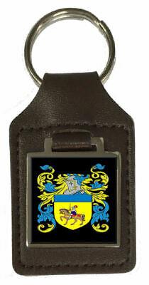 Ashby Family Crest Surname Coat Of Arms Brown Leather Keyring Engraved
