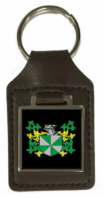 Wiffin Family Crest Surname Coat Of Arms Brown Leather Keyring Engraved