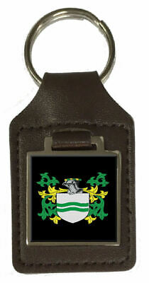 Botwright Family Crest Surname Coat Of Arms Brown Leather Keyring Engraved