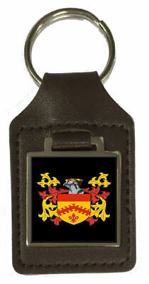 Pogson Family Crest Surname Coat Of Arms Brown Leather Keyring Engraved