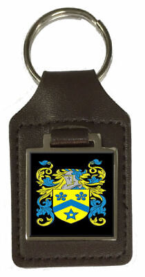 Sarath Family Crest Surname Coat Of Arms Brown Leather Keyring Engraved