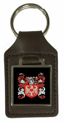 Hambley Family Crest Surname Coat Of Arms Brown Leather Keyring Engraved