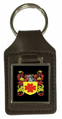 Turnbull Heraldry Surname Coat Of Arms Brown Leather Keyring Engraved