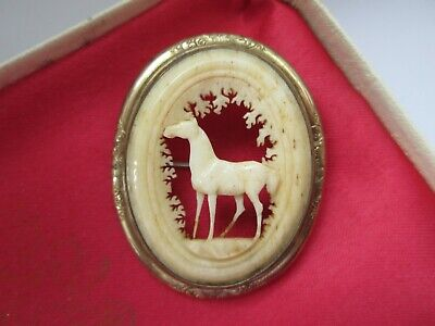 Victorian Antique Ornate Gold Carved Celluloid Horse Equestrian Brooch Pin