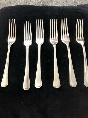 6 x VINTAGE MAPPIN & WEBB SILVER PLATED ATHENIAN CUTLERY DESSERT FORKS   7 25 ""