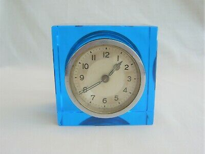 Art Deco Clock in Striking Blue Glass Surround for spares or repair - vintage