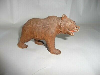 Antique Carved Wood Black Forest Bear Walking on All Fours