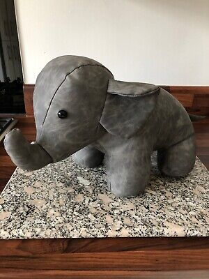 Faux Leather Grey Elephant Doorstop - Cute Animal Home Decor