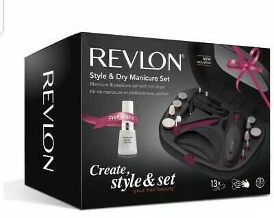 Revlon Style & Dry Manicure Set with Free Top Coat Brand New CLEARANCE