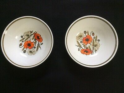2 Retro J & G Meakin Studio Cereal / Dessert Bowls in the Poppy Design Used.
