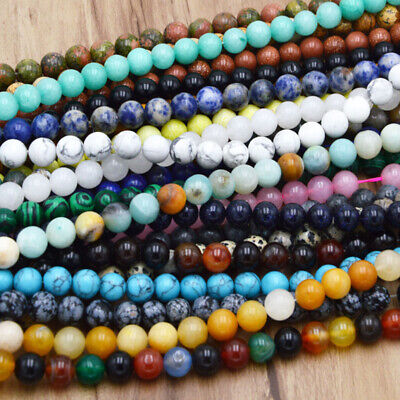Wholesale Natural Bulk Round Healing Gem Spacer Stone Beads Making 4/6/8/10 MM B