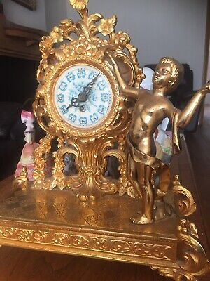 French Gilded Mantel Clock Antique/ Vintage