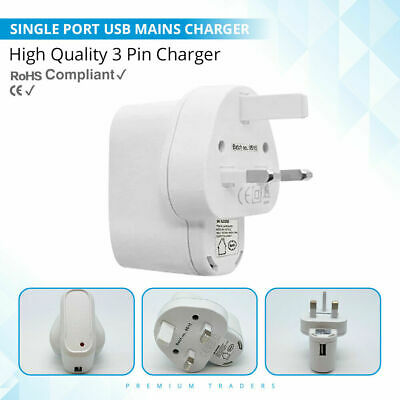iShine SINGLE USB 1 PORT WALL MAINS HOME CHARGER POWER PLUG ADAPTER CE APPROVED